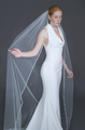 """Erica Koesler Wedding Veil 935-100 - (100"""" inches long) - Delicate pearl floral, seed bead edge on a silver comb"""