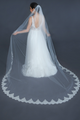 "Erica Koesler Wedding Veil 951-110 - (110"" inches long) - Single tier, scalloped beaded, floral lace"