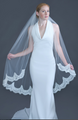 """Erica Koesler Wedding Veil 956-45 - (45"""" inches long) - Scalloped beaded lace edge on a silver comb"""