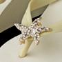 Rhinestone Gold Starfish High Wedge Flip Flops
