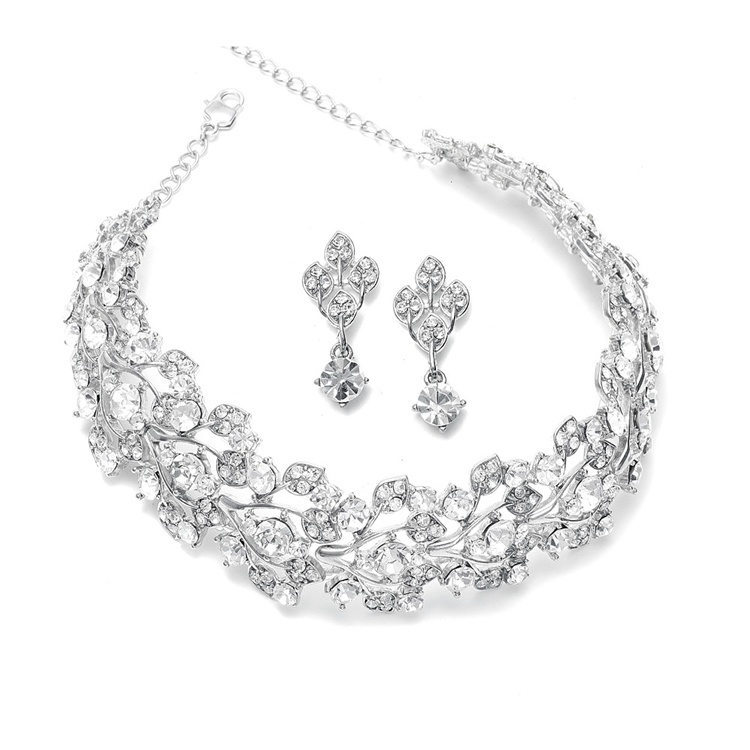 0ed082b2deda7 Mariell Bridals Bold Crystal Vine Wedding Choker Necklace Set 750S-CR