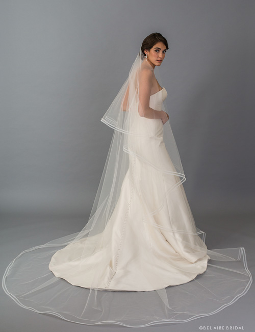 8275731e86 Bel Aire Bridal Veils V7405C - 2-tier foldover cathedral veil with narrow  horsehair. Tap to expand