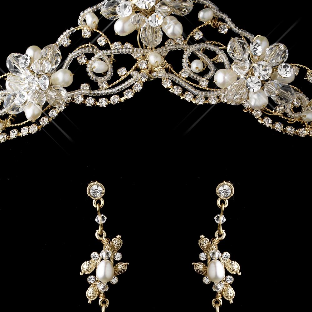 a197bd7f33c Gold Freshwater Pearl, Swarovski Crystal Bead and Rhinestone Tiara  Headpiece 2596 & Jewelry Set 7825
