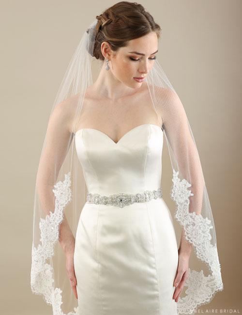 Bel Aire Bridal Veils V7300cx 1 Tier Veil With Alenon Lace