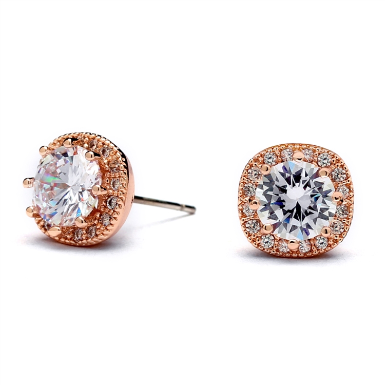 cc6f645cf9214 Mariell Cubic Zirconia Cushion Shape 10mm Halo Stud Earrings with Round Cut  Solitaire 4556E-RG
