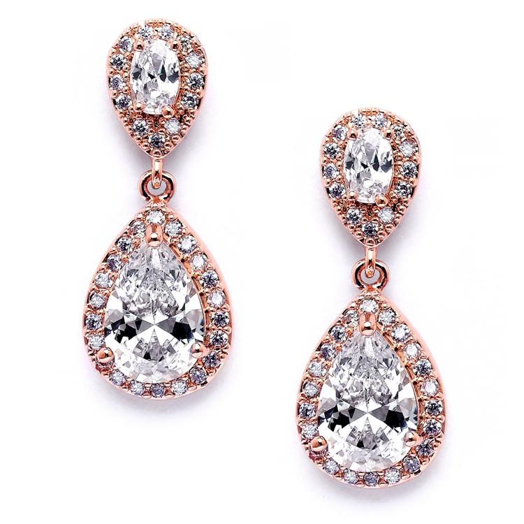 5fbe75c44 Mariell Lustrous Cubic Zirconia Teardrop Wedding Earrings 3520E-RG. ‹ ›