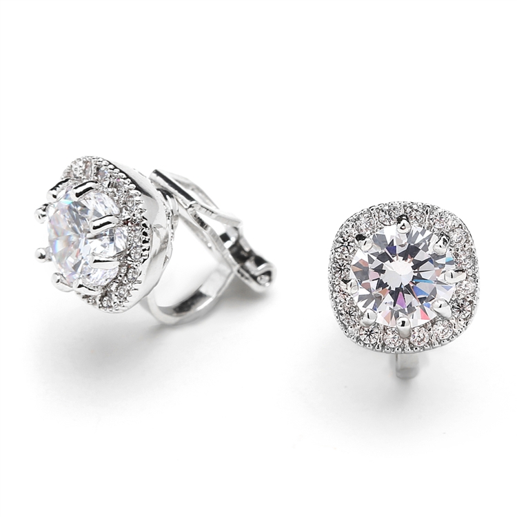 1a0b3483e Tap to expand · Mariell Cubic Zirconia Cushion Shape 10mm Halo Clip On Stud  Earrings with Round Cut Solitaire 4556EC. ‹ ›