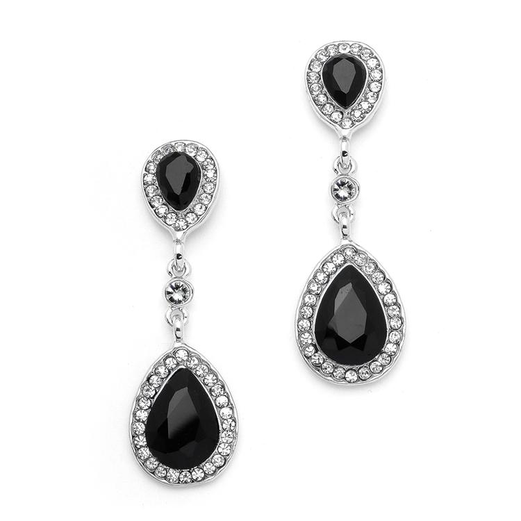 cb16297a5 Mariell Jet Black Crystal Pear-Shaped Vintage Dangle Earrings 4543E-JE-S. ‹  ›