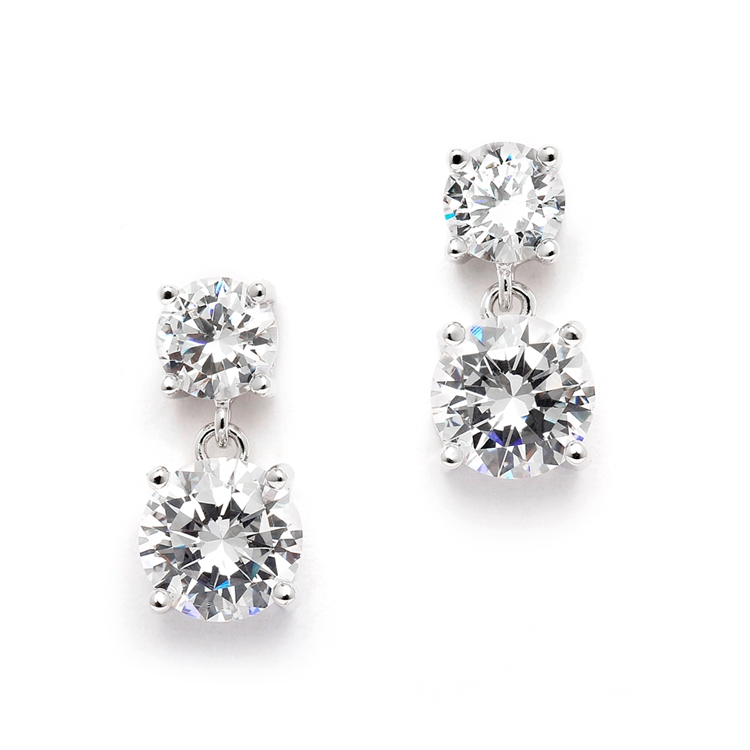 5e46ab6702697 Mariell Cubic Zirconia Drop Earrings with 1/2 Ct. Studs and 2.0 Ct. Drops  4491E-S