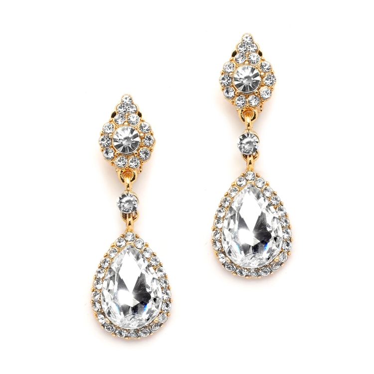 68c03e2aa Mariell Gold and Crystal Earrings with Teardrop Dangles 4532E-G | Clip On  Earrings
