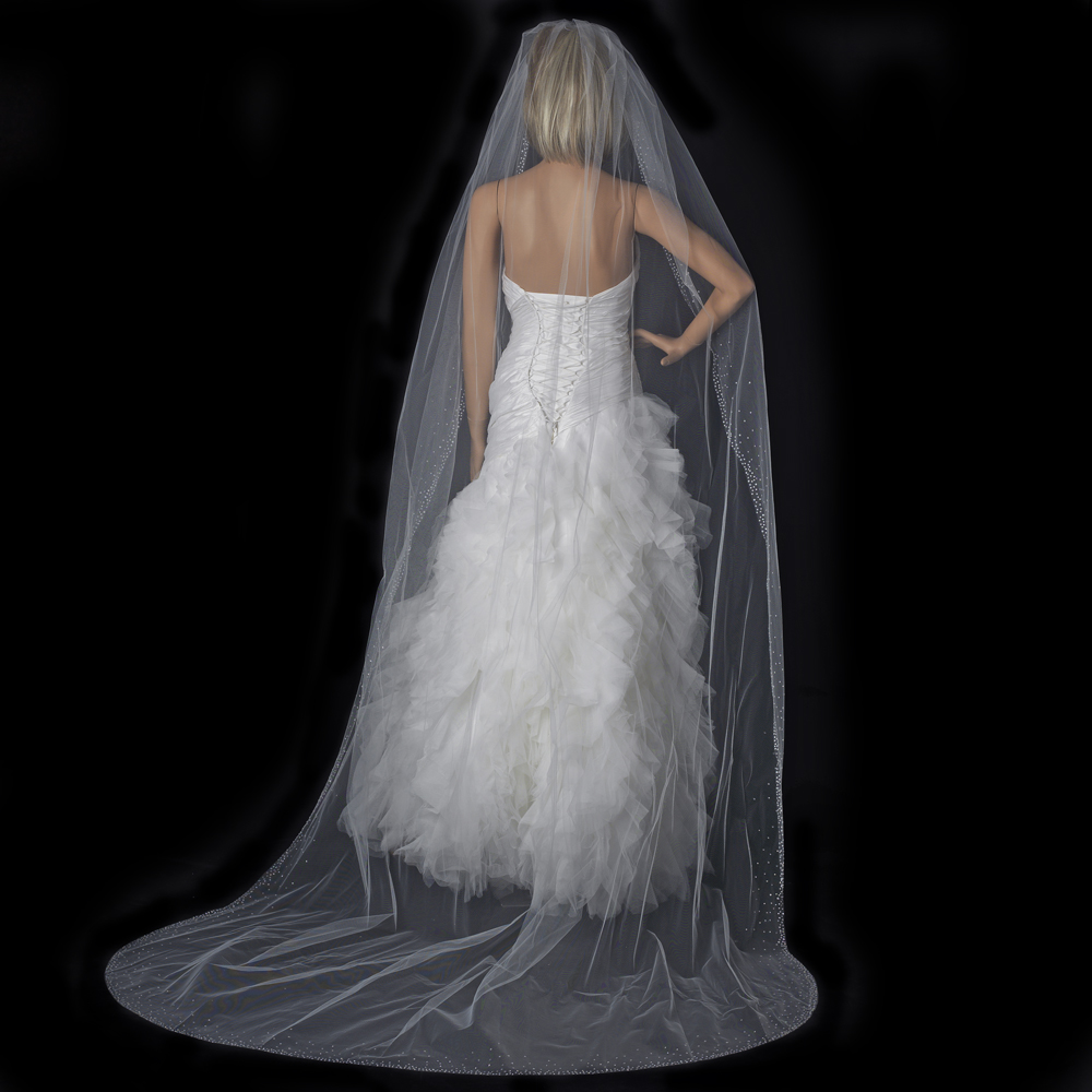 Wedding Factory Direct.Single Layer Cathedral Length Veil Style 137