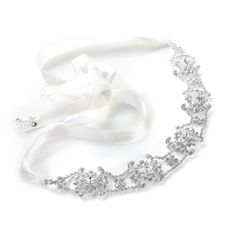 3d0cdb81c01 Swarovski Crystal Bridal Headband with Ribbon