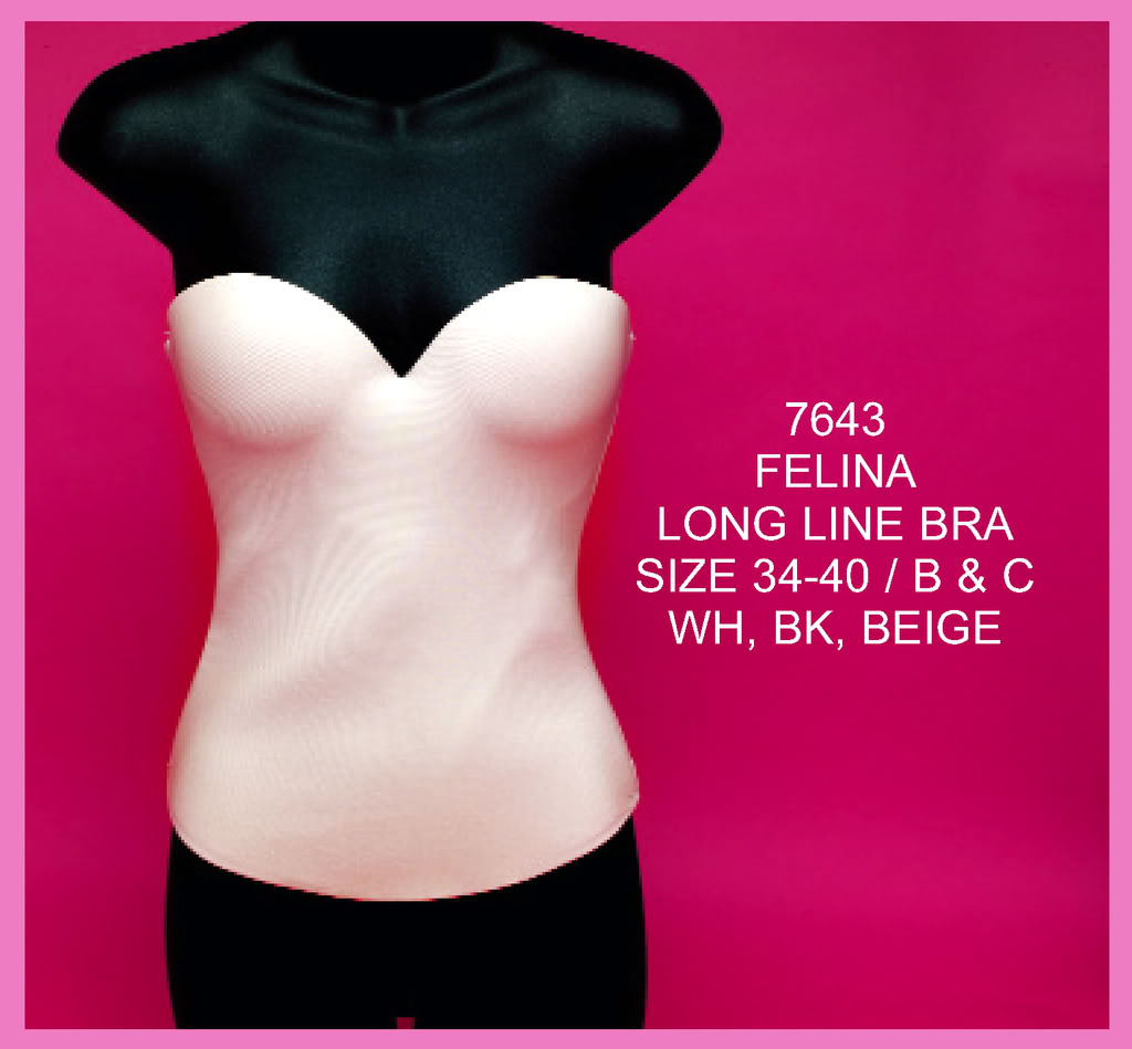 82b39236c41 Felina Long Line Bra 7643. Felina Long Line Seamless Hidden Wire Bustier ...