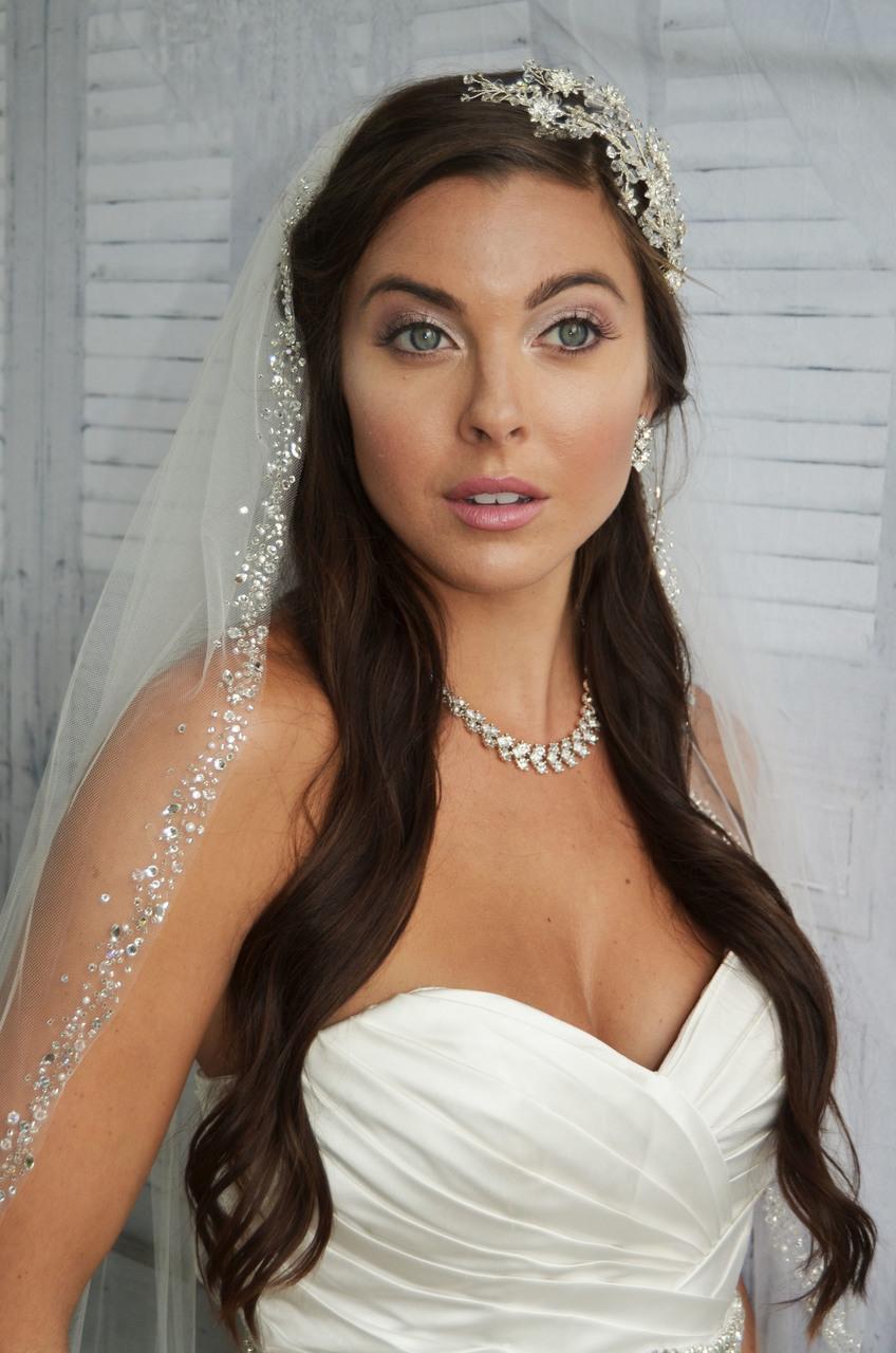 Long Style Cathedral Lace Mantilla,Church Wedding Veil Bridal Wedding Veil Pearl Beading Shinning