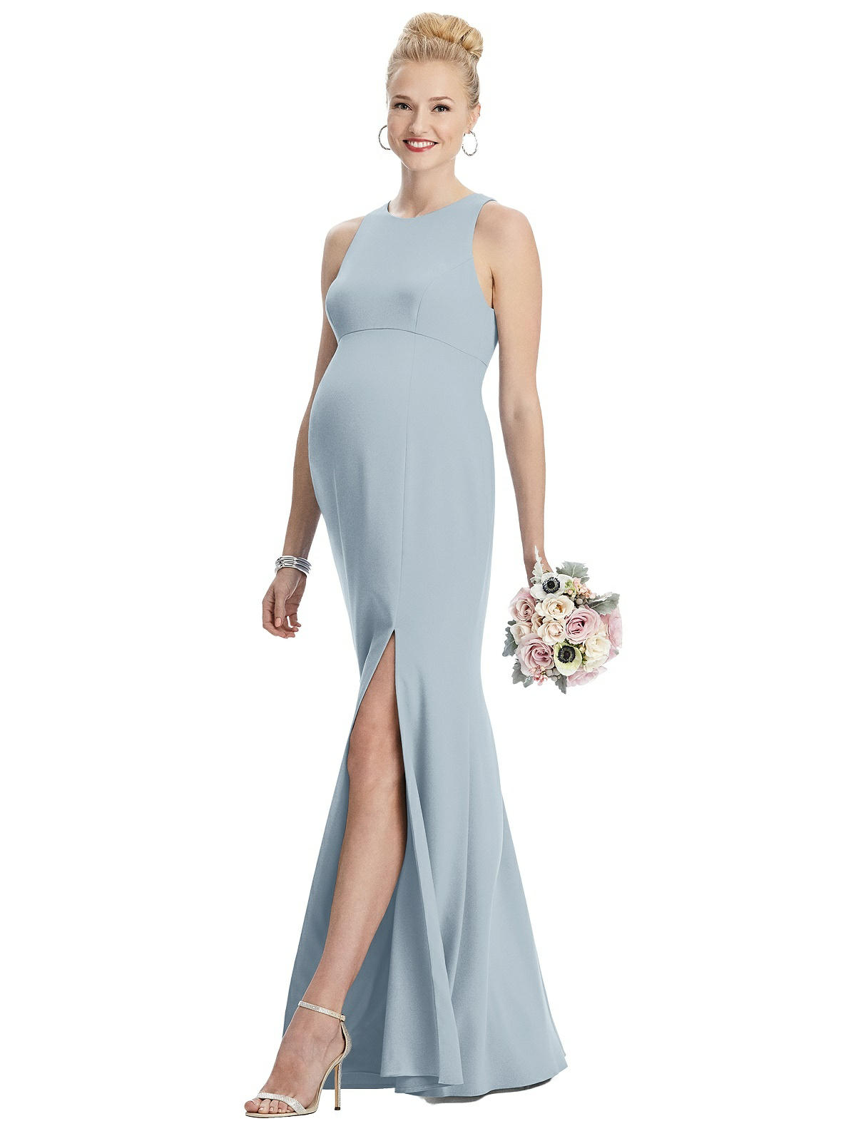 Maternity Style M441 Crepe Sleeveless Halter Maternity Dress With Front Slit