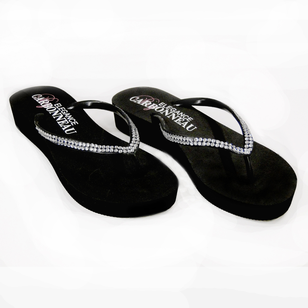 93d256e21f0e Sunshine ~ Low Heel Black Wedge Flip Flops with Crystal Straps