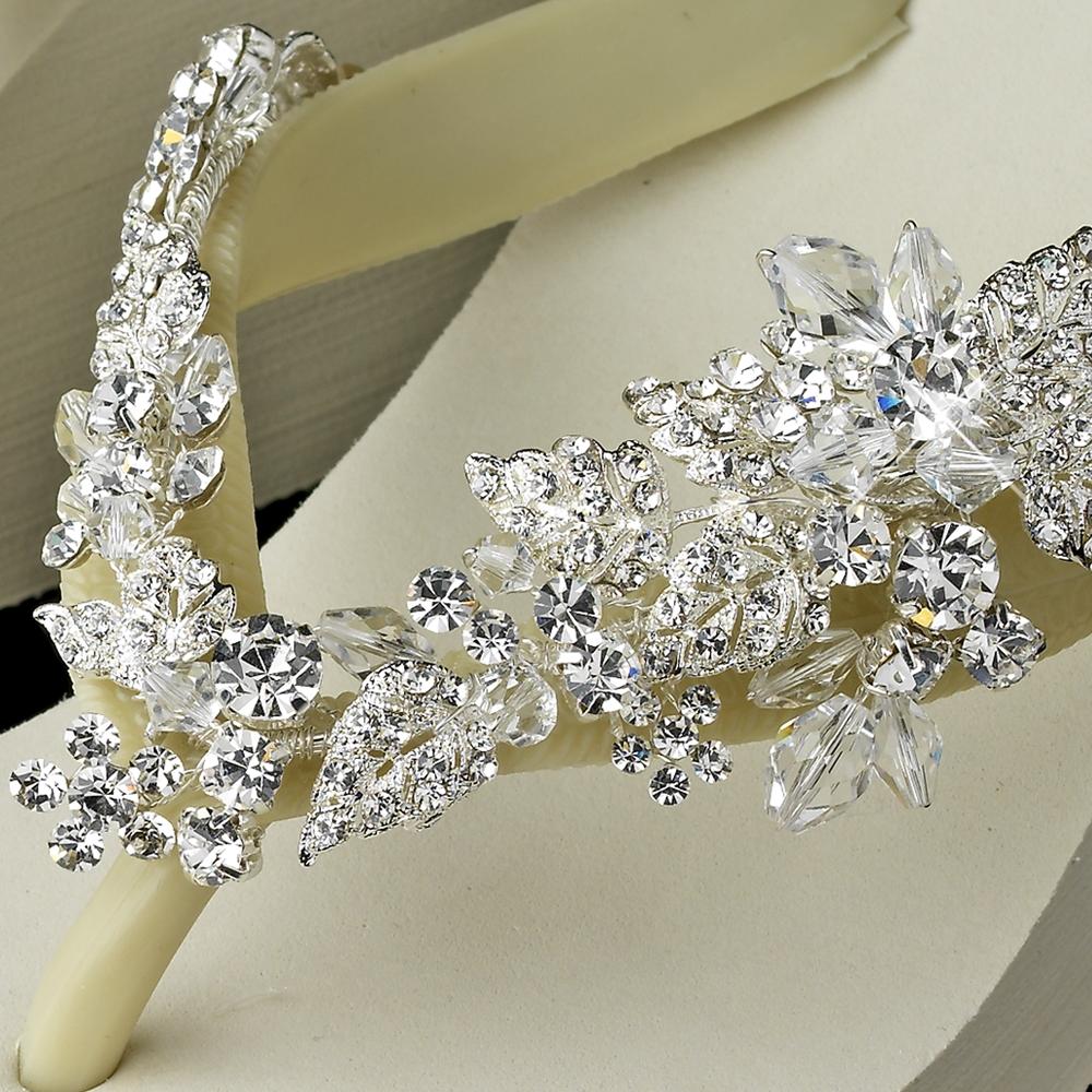 e87e7fe09a2b1 Crystal Accents Floral Vine High Wedge Flip Flops