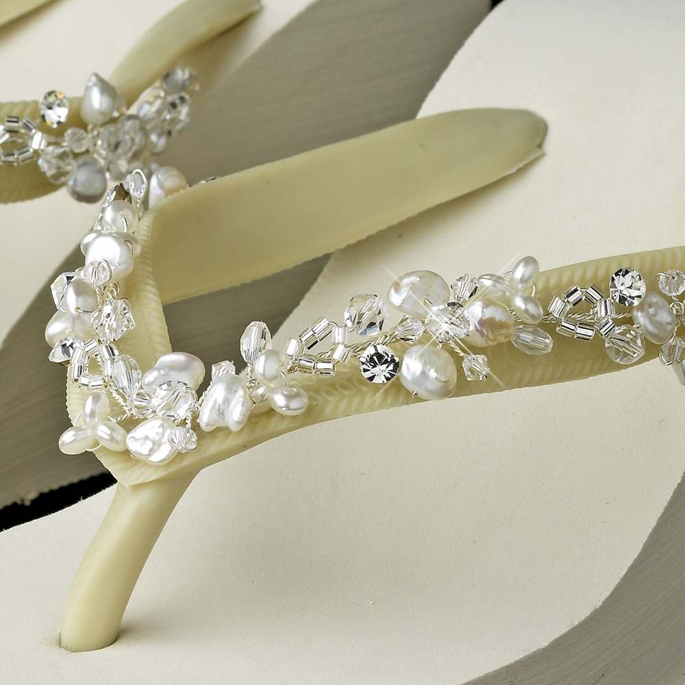 5607fd25cefb0 Crystal   Freshwater Pearl Accents High Wedge Flip Flops