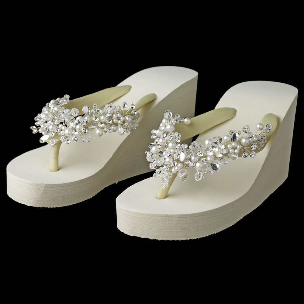 76ffa5c0213 Crystal   Pearl Accents High Wedge Flip Flops. Tap to expand