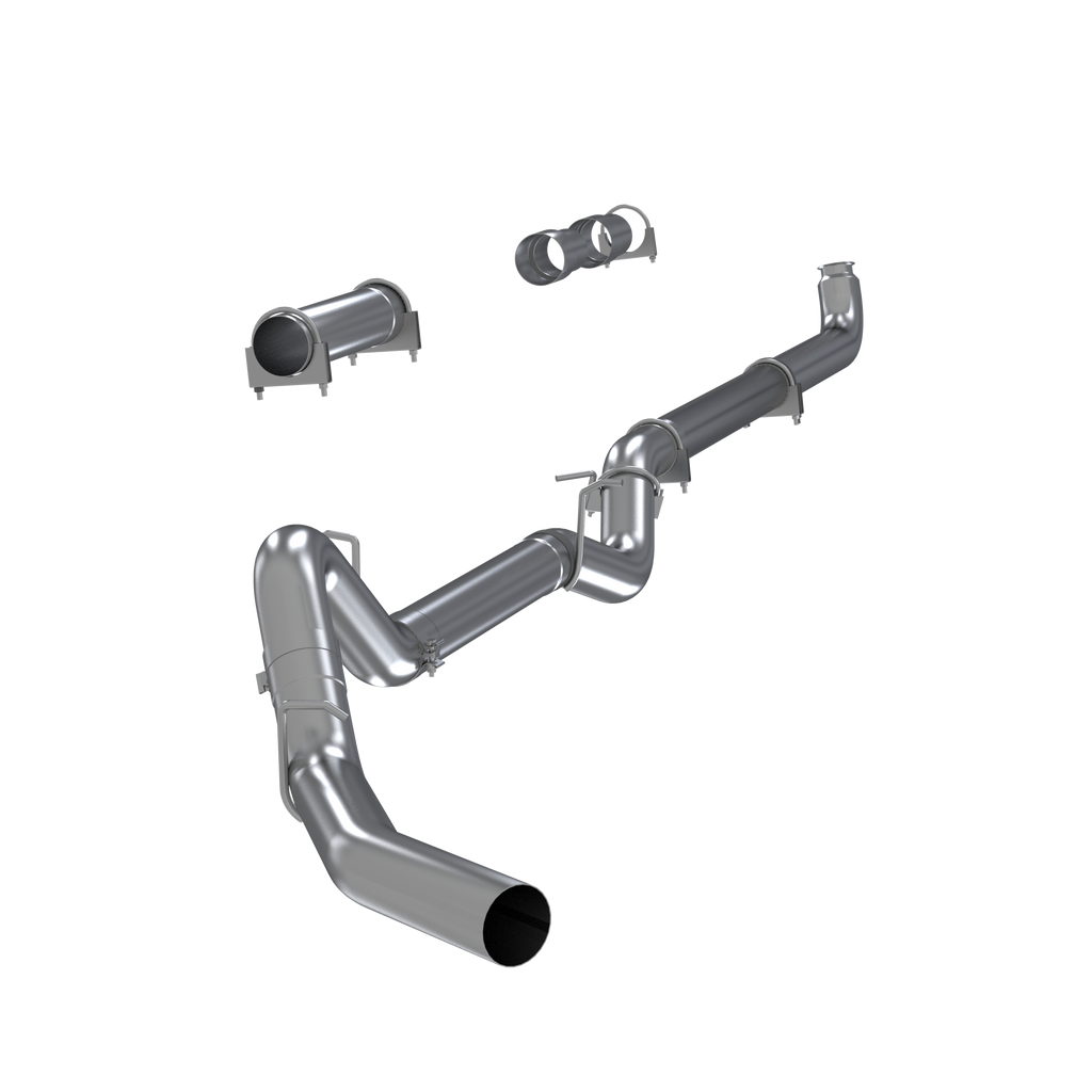"4"" Down Pipe Back, Single Side, Off-Road (includes front Pipe) - no muffler, 2001-2007 2500/3500 Duramax, EC/CC"