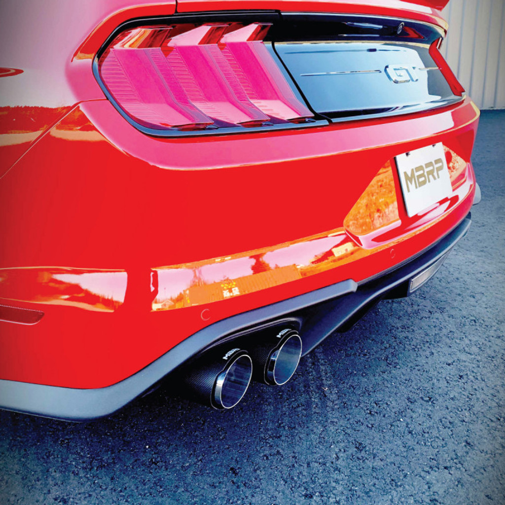 "3"" Cat Back, Dual Quad Split Rear Exit, Active Exhaust, T304 with Carbon Fiber Tips  Ford Mustang GT 5.0L 2018 - 2020"