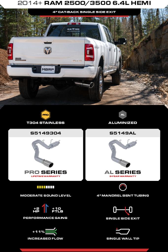 "4"" Cat Back 2014-2020 Dodge Ram 2500/3500 6.4L, Single Exhaust System, Installer Series"