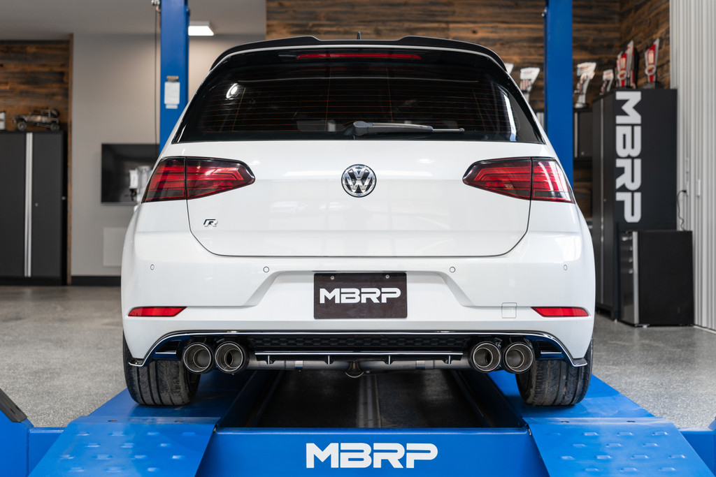 "3"" Cat Back, 2015-2019 VW Golf R MK7/MK7.5, Quad Split Rear, T304 Stainless Steel w/ Carbon Fiber Tips"