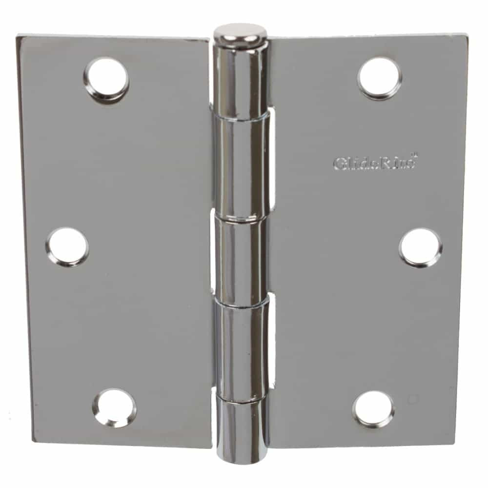 3-1/2 Inch Polished Chrome Door Hinge Square Corners - 3500-PC