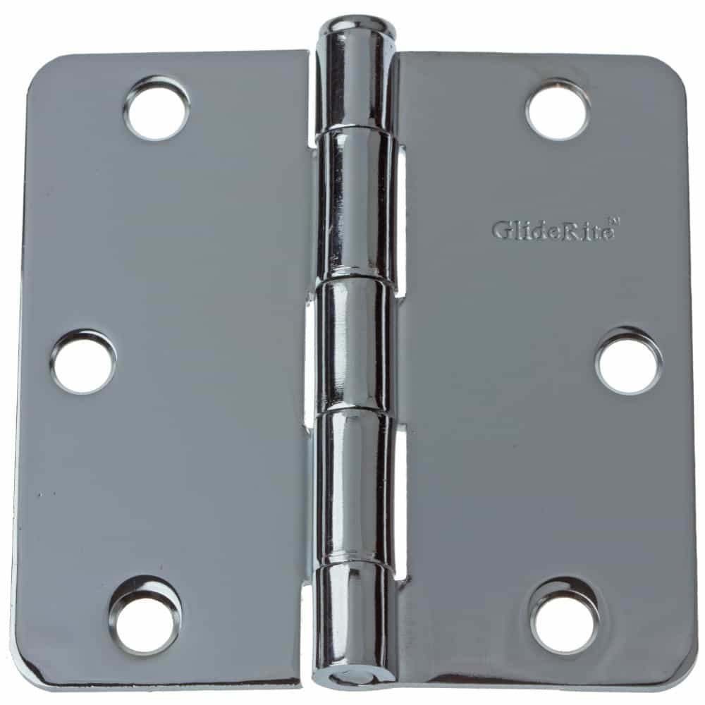 3-1/2 Inch Polished Chrome Door Hinge 1/4 Inch Corner Radius - 3514-PC