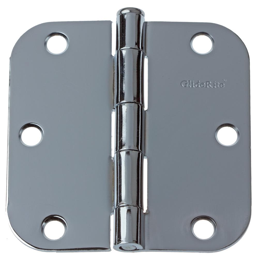 3-1/2 Inch Polished Chrome Door Hinge 5/8 Inch Corner Radius - 3558-PC