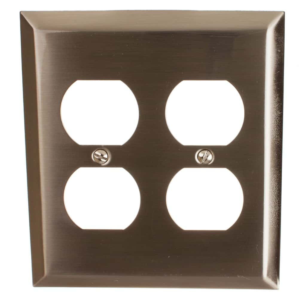 Double Duplex Outlet Beveled Edge 2-Gang Wall Plate Cover - 200DD-BN