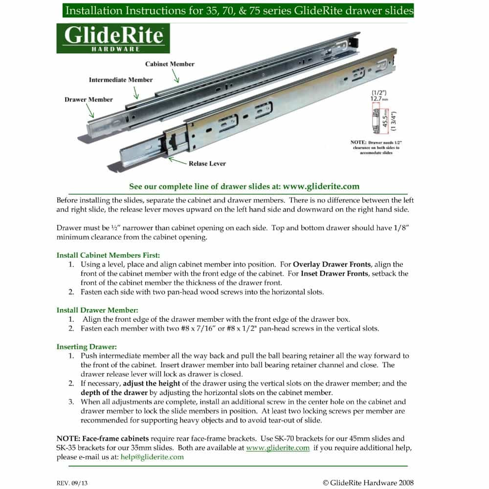 Installation Instructions for Side-Mount GlideRite Drawer Slides