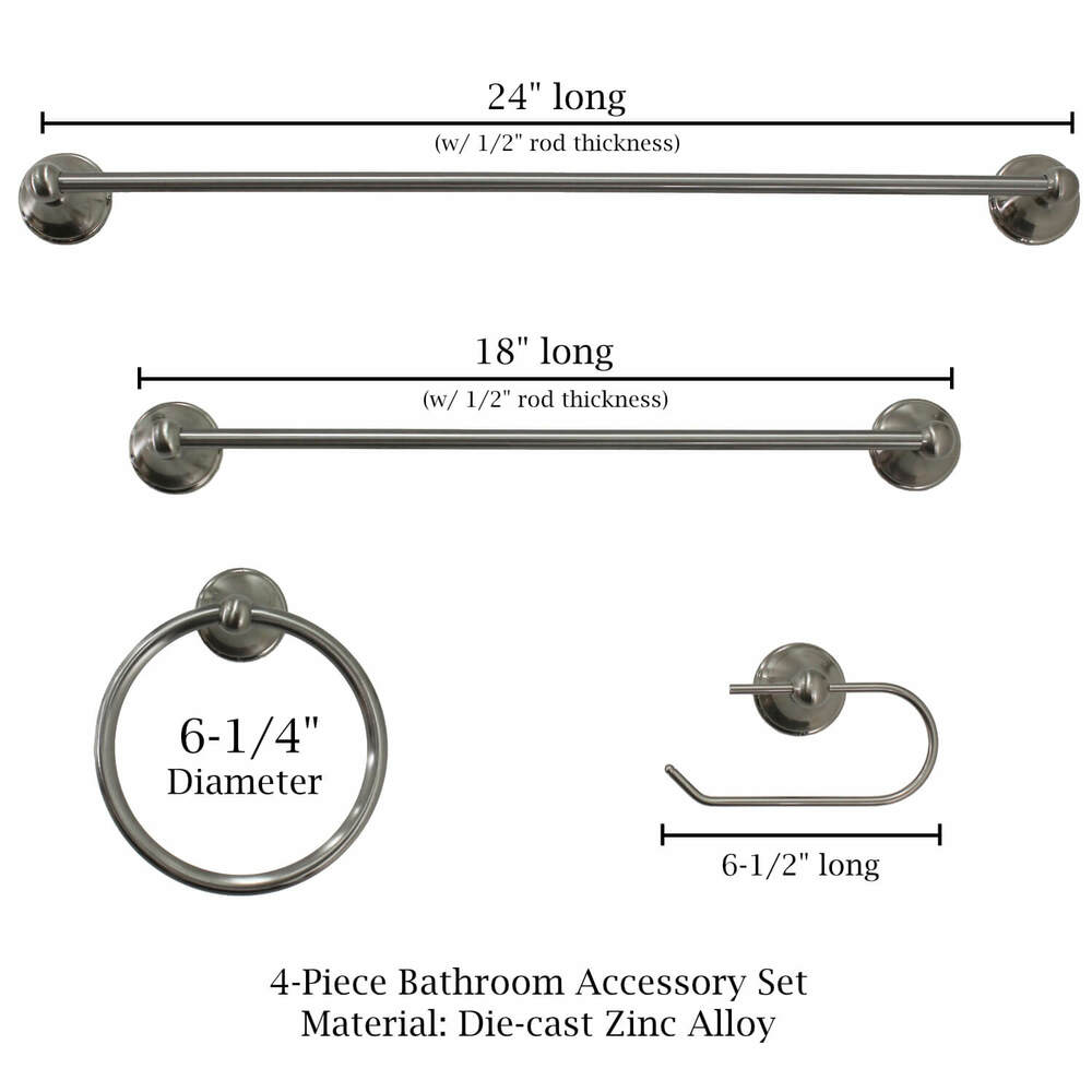 GlideRite Jackson Bathroom Hardware Accessory Set - Dimensions
