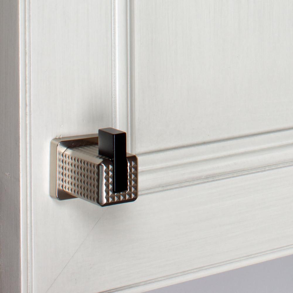 1 in. Modern Embossed Matte Black Square Cabinet Knob - 52060-T-MB