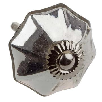 2-Inch-Long Silver Octagon Mercury Glass Cabinet Knob - 233520-M