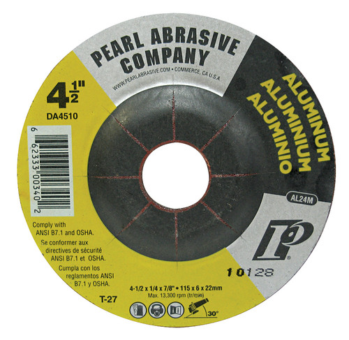 Pearl Abrasive Aluminum T-27 Depressed Center Grinding Wheel 4-1/2 x 1/4 x 7/8 DA4510
