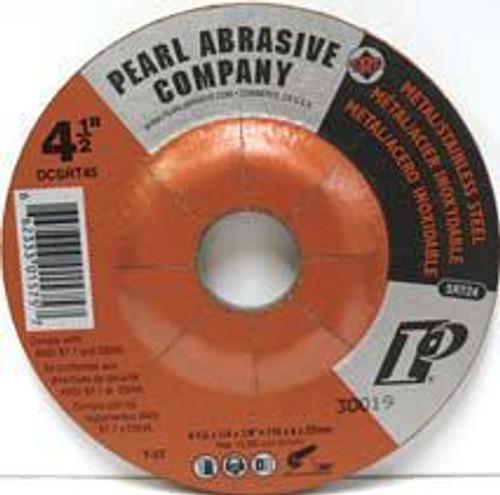 Pearl Abrasive T-27 SRT Contaminant Free Depressed Center Grinding Wheel for Stainless Steel 25ct Case SRT24 Grit 4 1/2 x 1/4 x 7/8 DCSRT45