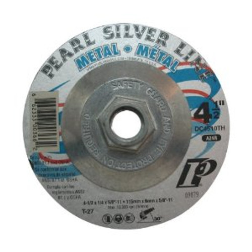Pearl Abrasive T-27 Silver Line Depressed Center Grinding Wheel (with hub) for Metal 4 1/2 x ¼ x 5/8-11 DC4510TH