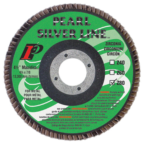 Pearl Abrasive Silverline Zirconia Maxidisc Radial Flap Disc 4 1/2 x 7/8 inch Z40, Z60, Z80 Grit 10 Count Box MX454Z9T, MX456Z9T, or MX458Z9T