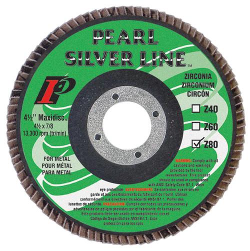 Pearl Abrasive Silverline Zirconia Maxidisc Radial Flap Disc 7 x 7/8 inch Z40, Z60, Z80 Grit 10 Count Box MX704Z9T, MX706Z9T, or MX708Z9T