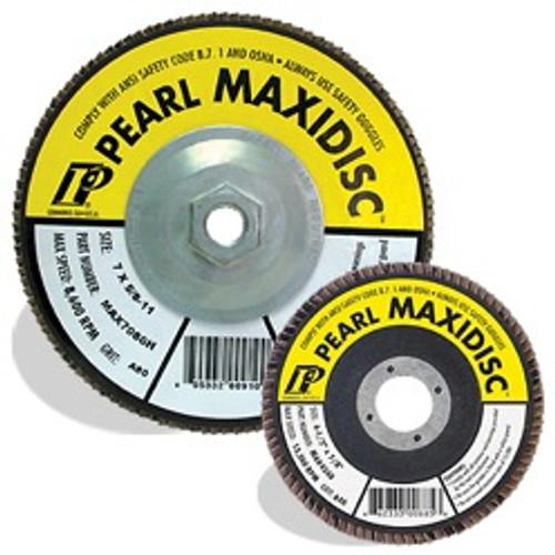 Pearl Abrasive T-27 Aluminum Oxide Premium Maxidisc Flapdisc 10ct Case A40, A60, A80, A100 or A120 Grit 5 x 5/8- 11 MAX5040H, MAX5060H, MAX5080H, MAX5100H, MAX5120H