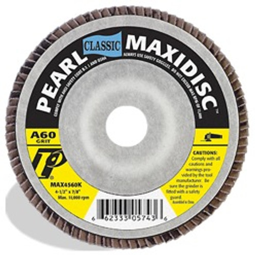 Pearl Abrasive T-27 Aluminum Oxide Classic Maxidisc Flapdisc 10ct Case A40, 60, 80, or 100 Grit 4 1/2 x 5/8- 11 MAX4540KH, MAX4560KH, MAX4580KH