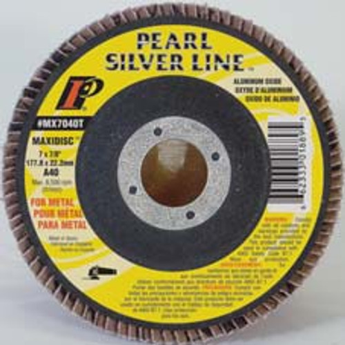 Pearl Abrasive T-27 Aluminum Oxide Silver Line Maxidisc Flapdisc 10ct Case A40, A60, A80 or A120 Grit 4 1/2 x 5/8-11 MX4540TH, MX4560TH, MX4580TH, MX45120TH