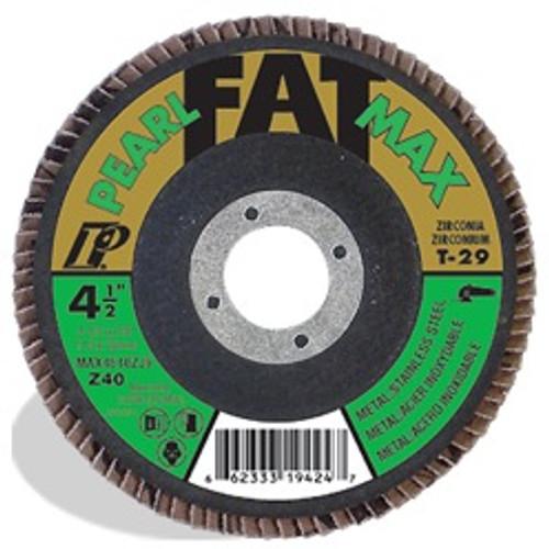 Pearl Abrasive T-27 Zirconia Fat Max Maxidisc Flapdisc 10ct Case Z40, Z60, Z80 or Z120 Grit 4 1/2 x 5/8- 11 MAX4540ZJ7H, MAX4560ZJ7H, MAX4580ZJ7H, MAX45120ZJ7H