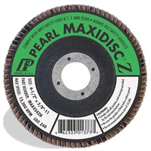 Pearl Abrasive T-27 Zirconia Silver Line Maxidisc Flapdisc 10ct Case Z60 or Z80 Grit 4 1/2 x 5/8- 11 MAX456ZH, MAX458ZH