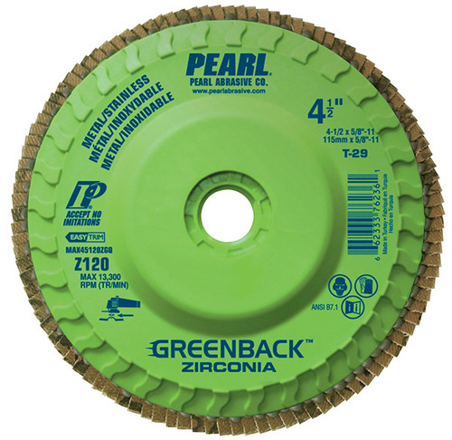 Pearl Abrasive T-29 Greenback Quickmount Trimmable Zirconia Maxidisc Flapdisc 10ct Case Z40, Z60, Z80 or Z120 Grit 4 1/2 x 5/8-11 MAX4540ZGQ, MAX4560ZGQ, MAX4580ZGQ, MAX45120ZGQ