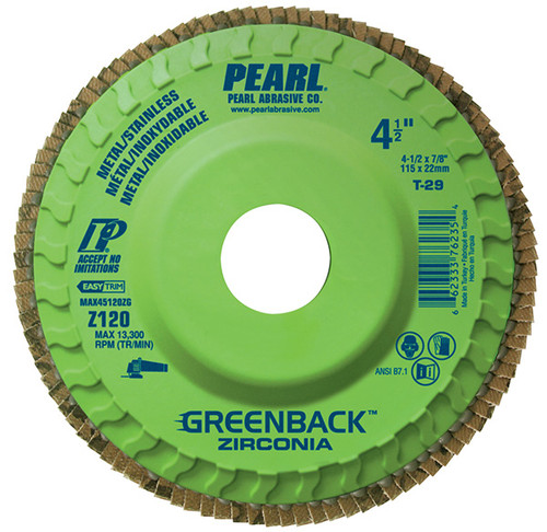 Pearl Abrasive T-29 Greenback Trimmable Zirconia Maxidisc Flapdisc 10ct Case Z40, Z60, Z80, or Z120 Grit 5 x 7/8 MAX5040ZG, MAX5060ZG, MAX5080ZG, MAX5120ZG
