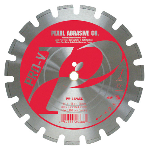 Pearl Abrasive P2 Pro-V Segmented Diamond Blade for Asphalt and Green Concrete 12 x .125 x 1, 20mm PV1212AGS
