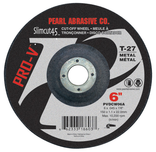 Pearl Abrasive T-27 Pro-V Aluminum Oxide Slimcut 45 Thin Cut Off Wheel 25ct Case A46 Grit 4 1/2 x .045 x 7/8 PVDCW45A