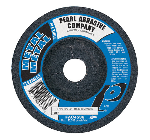 Pearl Abrasive T-27 Aluminum Oxide Flexible Grinding Wheels AC36, AC46, AC60 or AC80 Grit 25ct Case 4 1/2 x 1/8 x 7/8 FAC4536, FAC4546, FAC4560, FAC4580